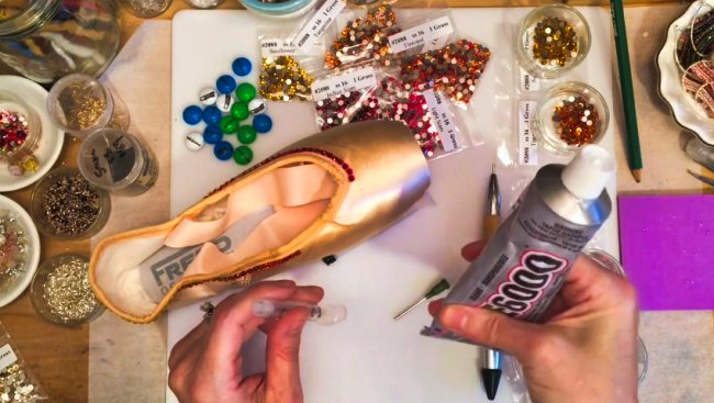 Gluing for Rhinestones on Fabric & Shoes